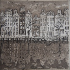Amsterdam Variante 3 Eau forte et Aquatinte 10x10cm