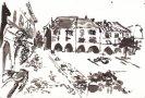 La place de Sauveterre de Rouergue Encre 10x14,5cm