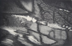 Ombres furtives Aquatinte crayon litho 12,5x19,5cm