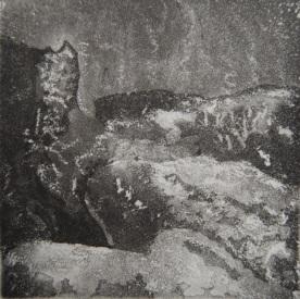 Vieille souche Aquatinte et crayon litho 10x10cm